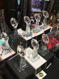 clear glass Super Bowl football trophys. Giants, Jets, Redskins, Cowboys, Patriots, Packers and Dolphins are available  Brookhaven, 11738