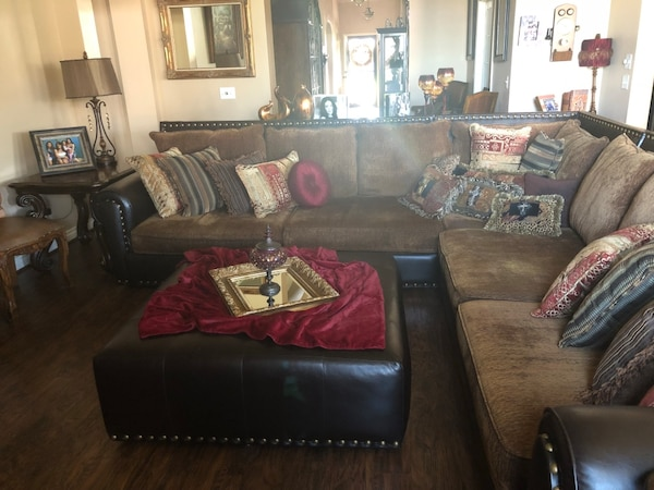 Used brown leather sectional sofa with ottoman for sale in Oklahoma ...