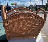 Rattan magazine rack/planter