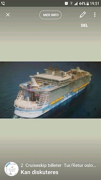 Cruis billet for 2 personer StenaCruise tur/retur  Alna