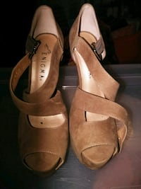 pair of brown leather open-toe heeled sandals 815 mi
