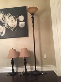 Black and brown table lamps and floor lamp