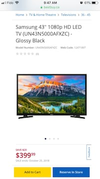 "Samsung 43"" 1080p HD LED TV Guelph, N1G 1H2"