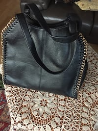 Black leather side-chain tote bag
