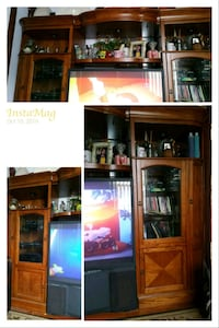 brown wooden TV hutch with flat screen television New Haven, 06511