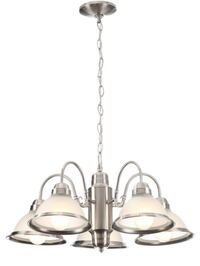 Hampton Bay Halophane 5-Light Brushed Nickel Chandelier with Frosted Ribbed Glass Shades Carrollton, 75007