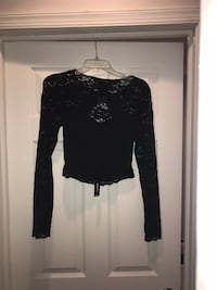 NWT Express Long sleeve lace open back crop top. Size small