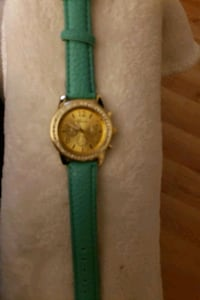 round silver chronograph watch with green leather  Brainerd, 56401