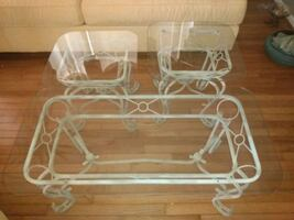 Glass coffee table & 2 glass side tables