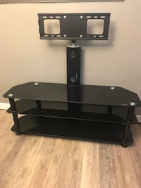 black tint glass 3-tier TV stand with mount