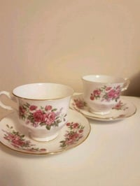 two white-and-pink floral ceramic mugs Toronto, M2M 4B9