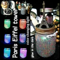 Paris Eiffel tower glitter glow jar w/ color light