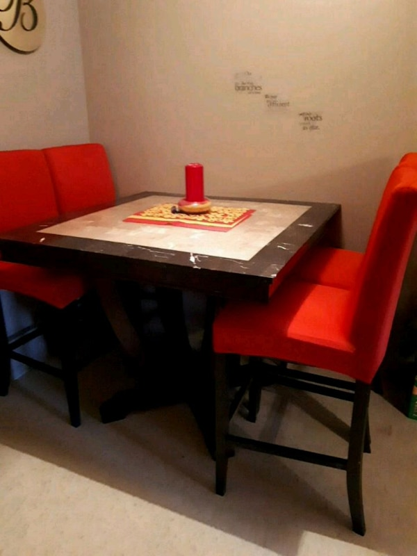Pub Style Marble Table Top With Wood Pedestal 4 C