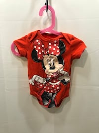 Red, Black, and White Minnie Mouse Disney Baby Onsie Washington, 20020