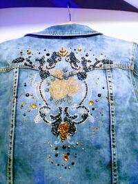 Denim jacket w/embossed application- womam size 10-14- NEW