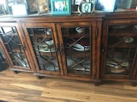 Brown wooden framed glass cabinet Canandaigua, 14424