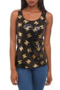 Gold Skull Sequin Top