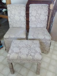(2) Fabric Chairs and (1) Bench