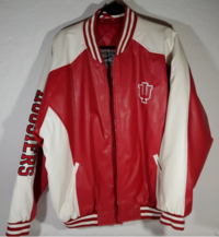 NCAA INDIANA HOOSIERS RED & WHITE FAUX LEATHER MATERIAL SIZE: XXL Oshawa