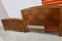 brown wooden bed headboard and footboard Town 'n' Country, 33615