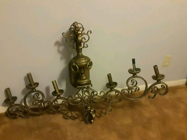 two brass and white uplight chandelier