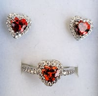 Stunning Ruby and lab diamond heart ring with earr Baltimore