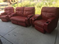 Red leather movie theater couch Prescott, 86303