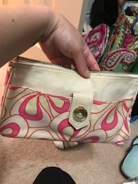 White and pink floral leather wristlet gap brand