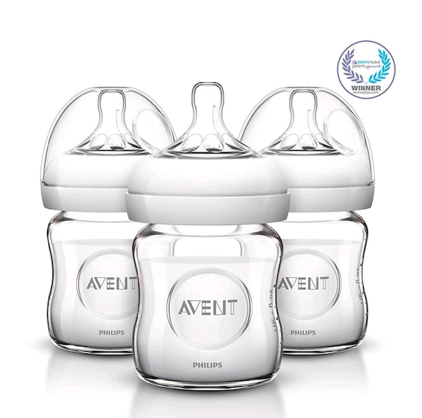 New Avent Natural Glass Baby Bottles, 4 Ounce