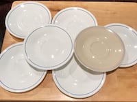 Corning Ware Corelle Off White w/ Light Blue Band Saucers Set of 6 and 1 beige