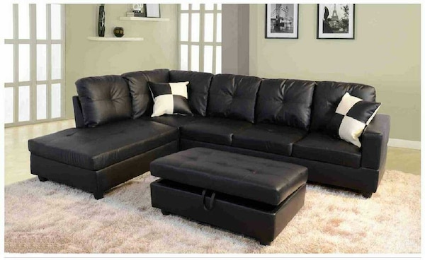 Outstanding Faux Leather Black Sectional W Ottoman Has Storage Frankydiablos Diy Chair Ideas Frankydiabloscom