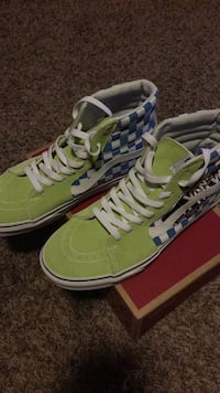 Vans high top blue checker with lime green. Sioux Falls, 57104