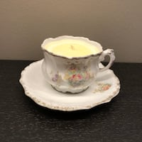 white and pink ceramic candle holder with saucer plate Vaughan