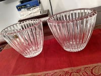two clear cut glass bowls