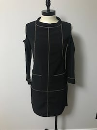 women's black long-sleeve mini dress