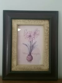 white petaled flower painting with black wooden frame Plum, 15239