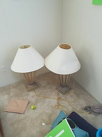 two white table lamps with white lampshades Warner Robins, 31093