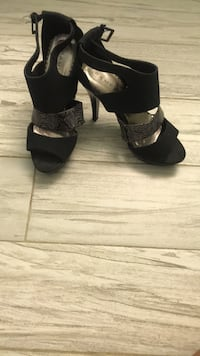 pair of black open-toe heeled sandals East Honolulu, 96825