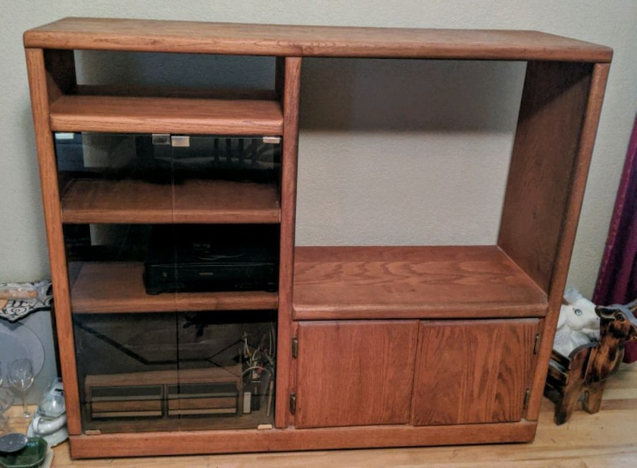 Photo Oak entertainment center (larger one) and smaller TV stand