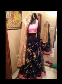 Indian Lehengah Blue and Pink