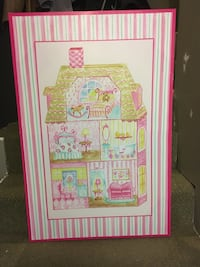 Little girls canvas doll house painting