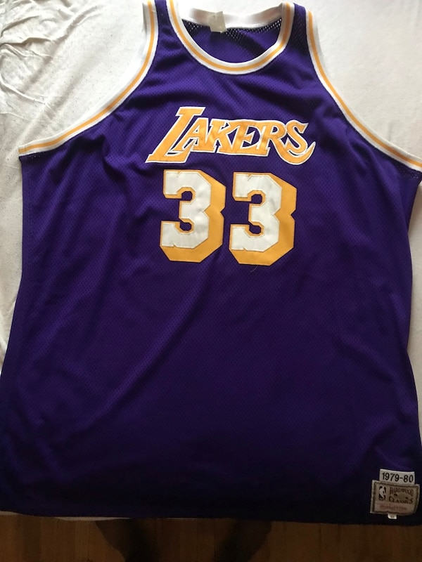 new style 41273 ddccb 1979-1989 Authentic Mitchell and Ness Los Angeles Lakers Kareem Abdul  Jabbar Jersey