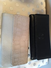 black and grey leather wallet
