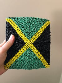 Jamaican flag purse with beads