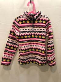 Pink, Black, and White Emoji Fleece Jacket Washington, 20020