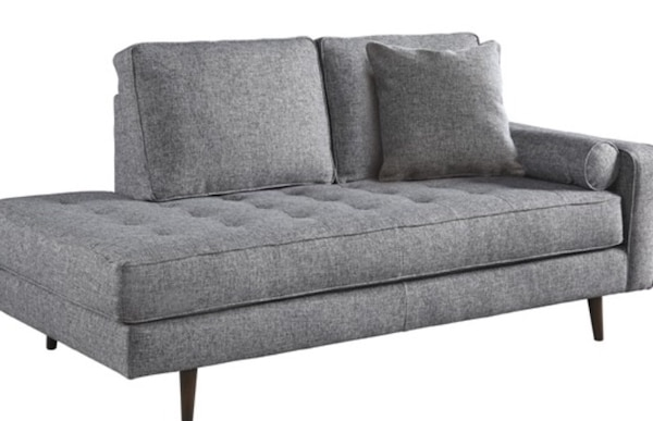 New Mid Century Modern Chaise Gray Fabric 2 Seat Sofa