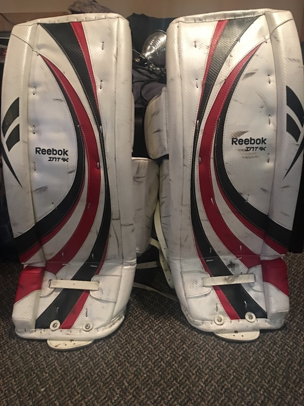 White, Red & Black Reebok INT 9k goalie pads