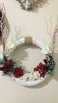 white and red rose with fruits wreath