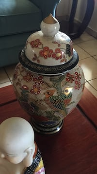 white, red, and green ceramic urn Miami, 33165