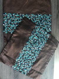 Teal and brown silk pillow cover Calgary, T2E